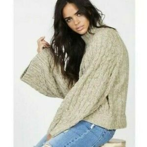free people snowbird green cable knit mock sweater